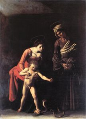 Madonna with the Serpent s+Caravaggio+Inconnu Musée Lieu+Inconnu Date oeuvre+L3703+